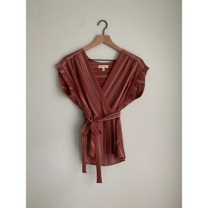 Large Monteau Dusty Rose Faux Wrap Top